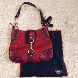 Coach iconic logo hobo in red leather